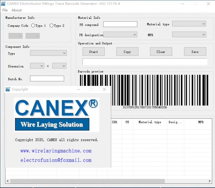 CANEX 24 Bit barcode software for electrofusion fiting